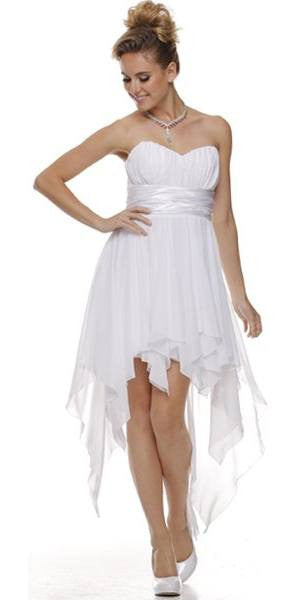 High Low Chiffon White Bridesmaid Dress Strapless Layered Skirt