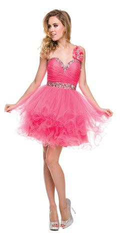 Poofy Tulle Skirt Coral Dress One Shoulder Sequin Sweetheart