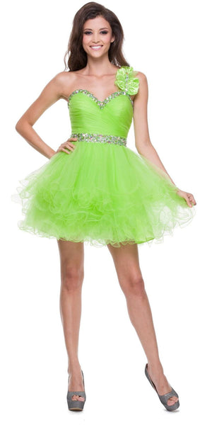 Poofy Tulle Skirt Lime Green Dress One Shoulder Sequin Sweetheart