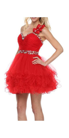 Poofy Tulle Skirt Red Dress One Shoulder Sequin Sweetheart