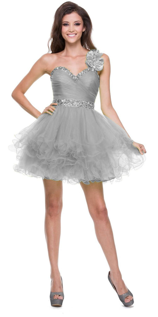 Poofy Tulle Skirt Silver Dress One Shoulder Sequin Sweetheart