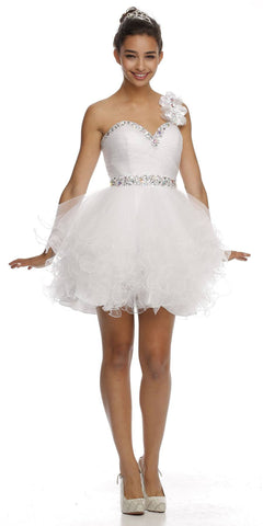 Poofy Tulle Skirt White Dress One Shoulder Sequin Sweetheart
