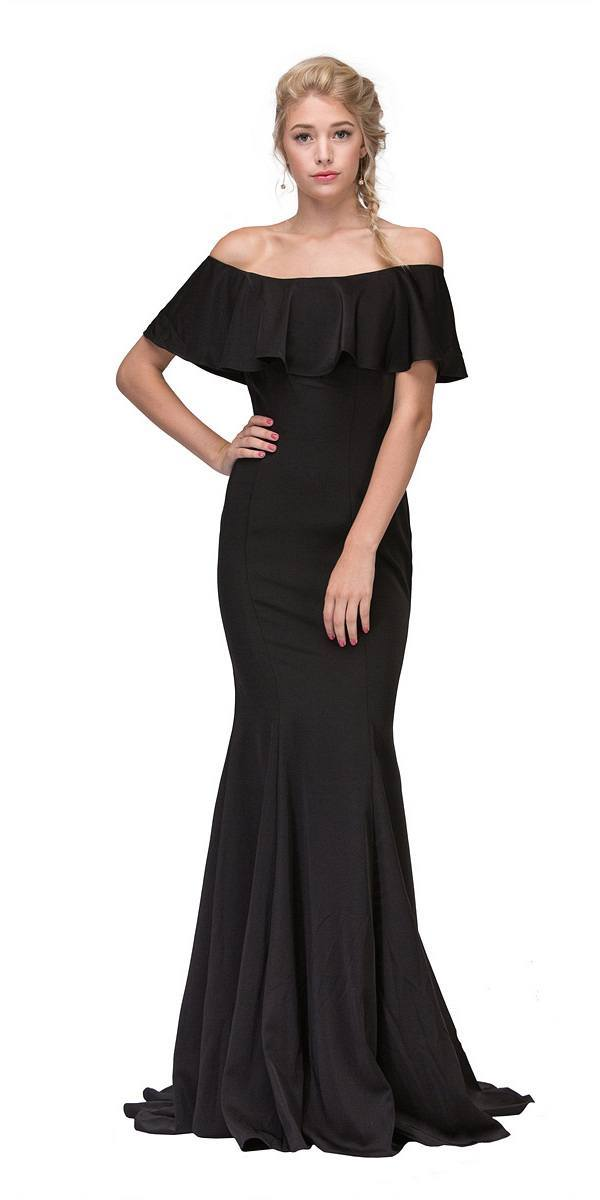 3c852a139df63 ... Black Off Shoulder Ruffled Bodice Mermaid Floor Length Prom Gown ...