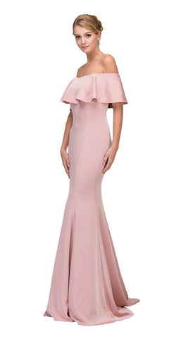 Eureka Fashion 7113 Blush Off Shoulder Ruffled Bodice Mermaid Floor Length Prom Gown