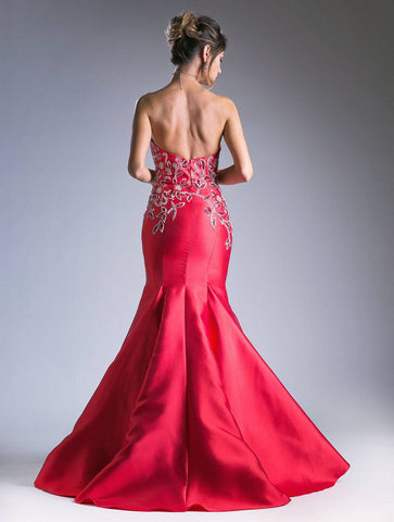 Bead Embroidered Mermaid Prom Gown Strapless Red