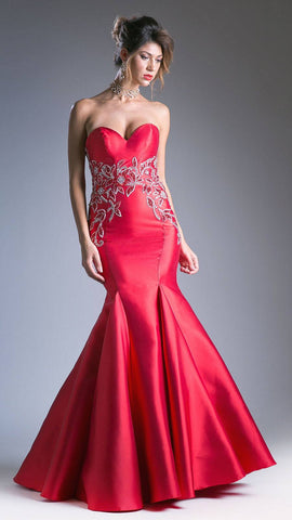 Red V-Neck Long Prom Dress with Ruffles and Slit