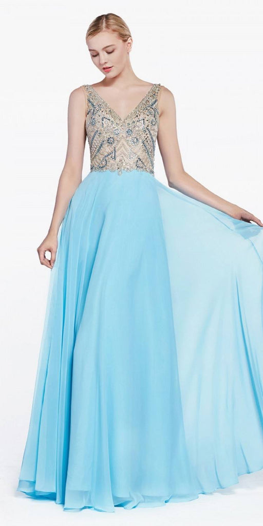 Long Prom Dress Beaded Top Open Back Sky Blue