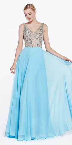 Silver Embellished Bodice Sleeveless Fit and Flare Evening Gown