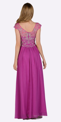 Poly USA 7122 Full Length Chiffon Dress in Orchid Illusion Neck Cap Sleeves Back View