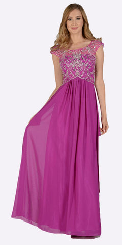 Poly USA 7122 Full Length Chiffon Dress in Orchid Illusion Neck Cap Sleeves