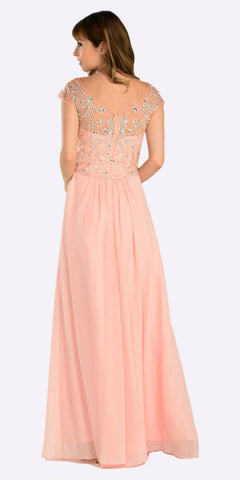 Poly USA 7122 Full Length Chiffon Dress in Peach Illusion Neck Cap Sleeves Back View