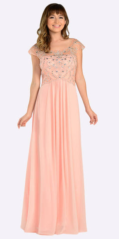 Poly USA 7122 Full Length Chiffon Dress in Peach Illusion Neck Cap Sleeves