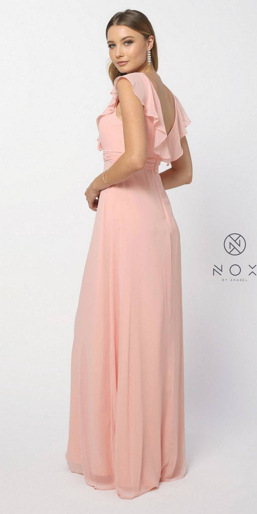 Nox Anabel 7123 Cap Sleeve Bridesmaid Gown Blush A Line Chiffon V Neck