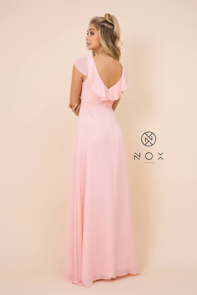 Nox Anabel 7123 Cap Sleeve Long A-Line Blush Gown Chiffon V Neck