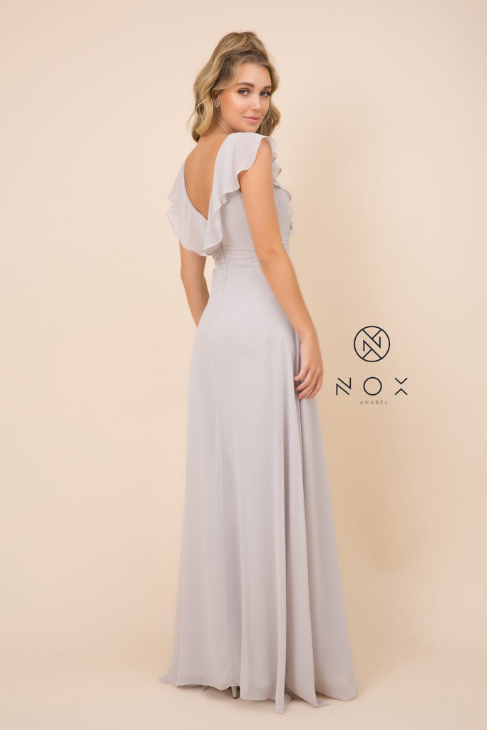 Nox Anabel 7123 Cap Sleeve Long A-Line Silver Gown Chiffon V Neck