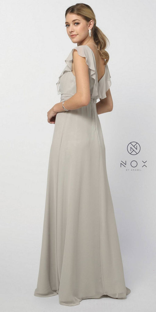 Nox Anabel 7123 Cap Sleeve Bridesmaid Gown Silver A Line Chiffon V Neck