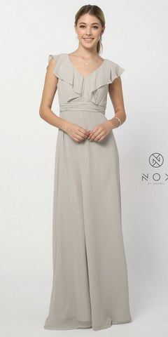 Cap Sleeve Bridesmaid Gown Silver A Line Chiffon V Neck