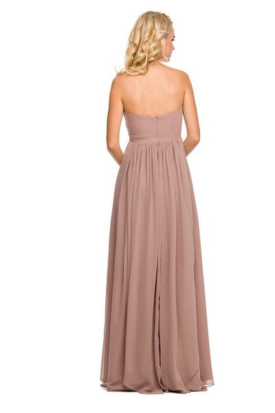 Floor Length Convertible Bridesmaids Dress Chiffon Blush/Tan Back View