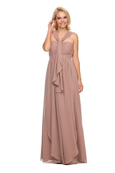 Floor Length Convertible Bridesmaids Dress Chiffon Blush/Tan