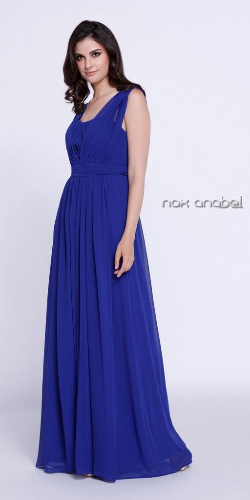 Floor Length Convertible Bridesmaids Dress Chiffon Royal Blue