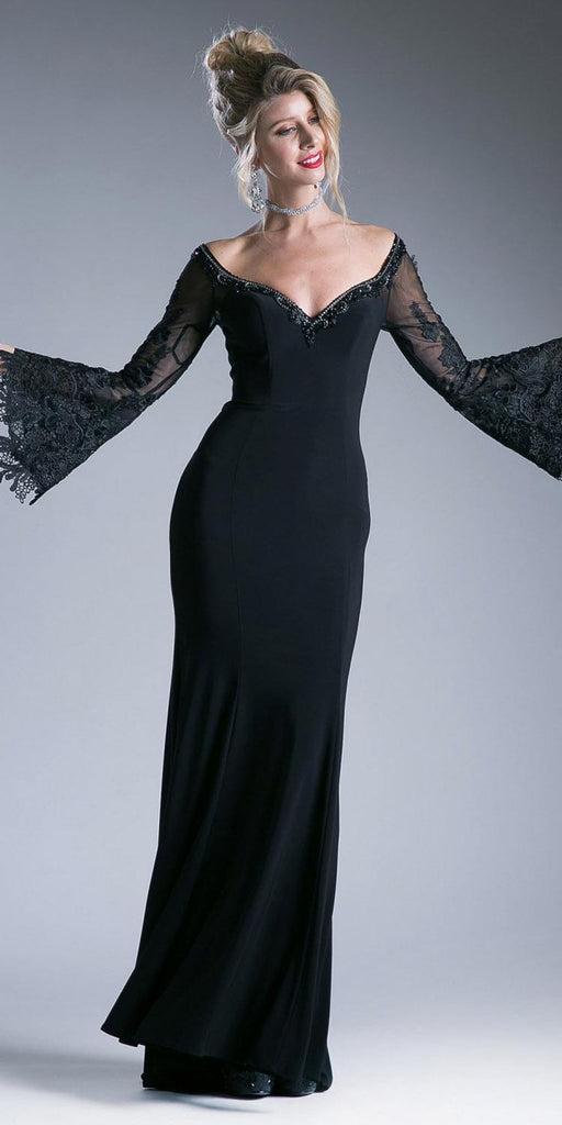 Cinderella Divine 71272 Fitted Stretch Jersey Black Dress Lace Bell Sleeves Open Keyhole Back