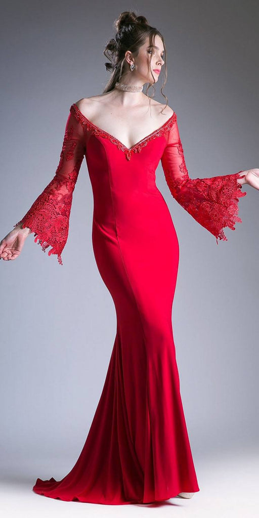 Cinderella Divine 71272 Fitted Stretch Jersey Red Dress Lace Bell Sleeves Open Keyhole Back