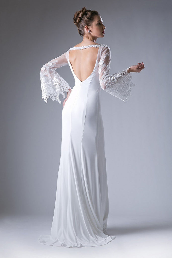 Cinderella Divine 71272 Fitted Stretch Jersey White Dress Lace Bell Sleeves Open Keyhole Back