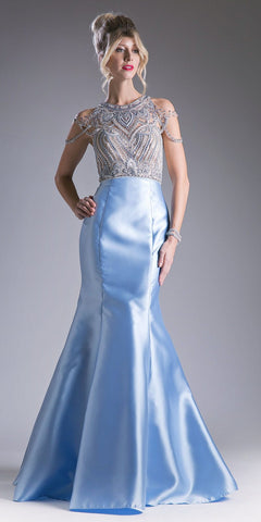Cold Shoulder Beaded Mermaid Prom Gown Perry Blue