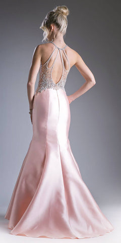 Peach Halter Beaded Long Mermaid Prom Gown with Keyhole