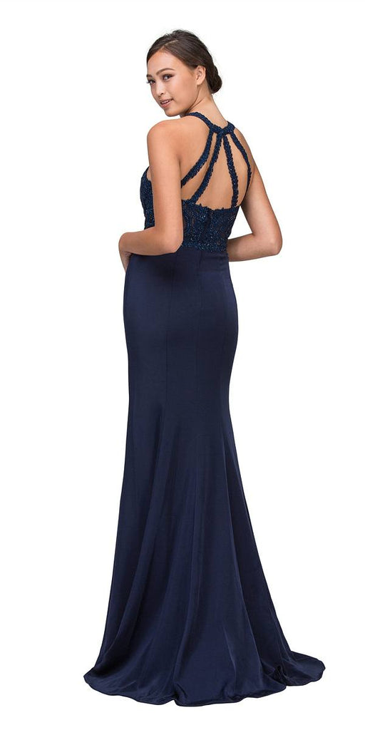 Navy Blue Halter Mermaid Prom Gown Appliqued Bodice