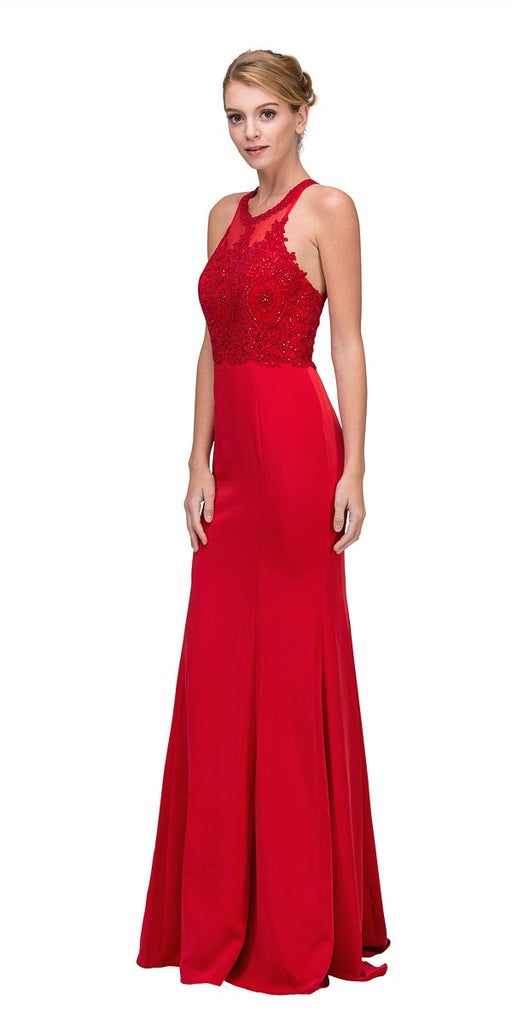 Red Halter Mermaid Prom Gown Appliqued Bodice