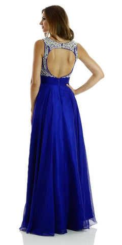 Floor Length Evening Gown Royal Blue Chiffon/Mesh Sleeveless Bateau Back View