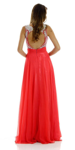 Floor Length Evening Gown Watermelon Chiffon/Mesh Sleeveless Bateau Back View