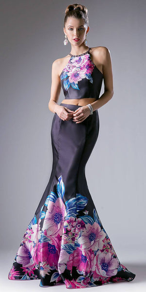 Cinderella Divine 71377 Halter Two-Piece Floral Print Mermaid Prom Gown Cut Out Back