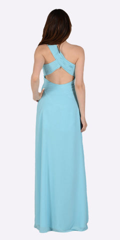 Poly USA 7140 Long One Shoulder Chiffon Semi Formal Dress Aqua One Shoulder Back View