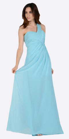 Poly USA 7140 Long One Shoulder Chiffon Semi Formal Dress Aqua One Shoulder