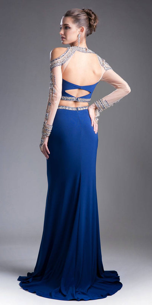Cinderella Divine 71486 Navy Blue Beaded Cold Shoulder Two-Piece Prom Dress Back View