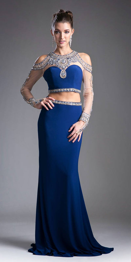 Cinderella Divine 71486 Navy Blue Beaded Cold Shoulder Two-Piece Prom Dress