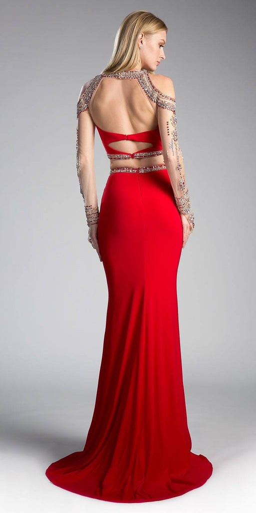 Cinderella Divine 71486 Red Beaded Cold Shoulder Two-Piece Prom Dress Back View