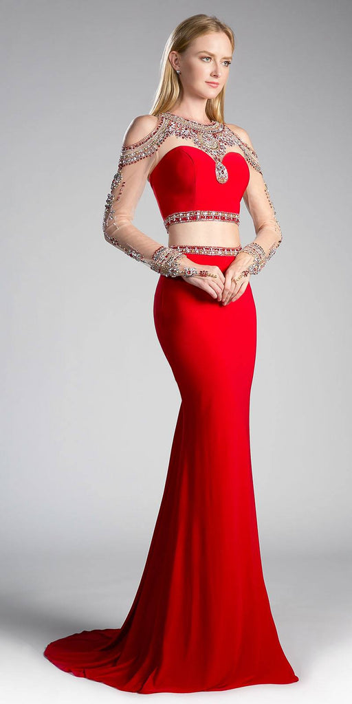 Cinderella Divine 71486 Red Beaded Cold Shoulder Two-Piece Prom Dress