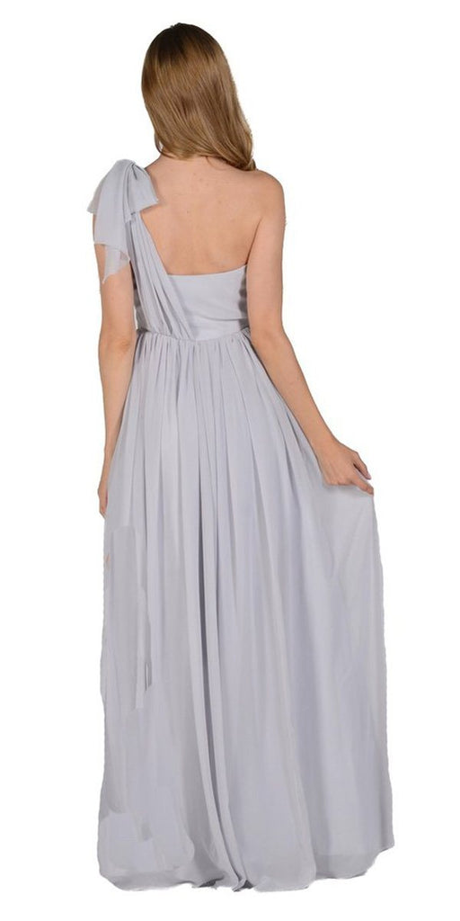 Poly USA 7156 - Long Convertible Chiffon Dress Gray 10 Different Looks Back View