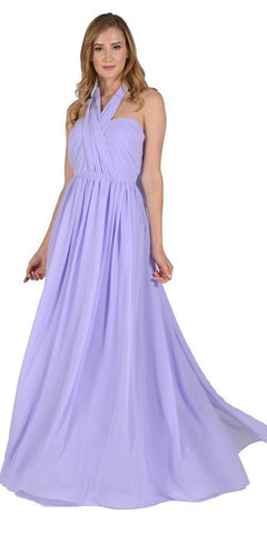 Poly USA 7156 - Long Convertible Chiffon Dress Lilac 10 Different Looks