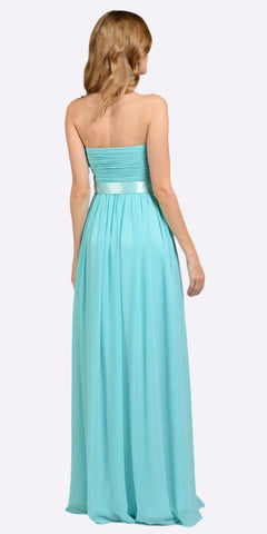 Poly USA 7164 Full Length Strapless V Notch Aqua Chiffon Formal Dress Back View