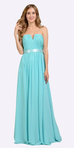 Poly USA 7164 Full Length Strapless V Notch Aqua Chiffon Formal Dress