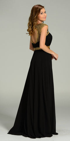 Poly USA 7182 Long Formal Chiffon Floor Length Gown Black Gold Cap Sleeves Back View