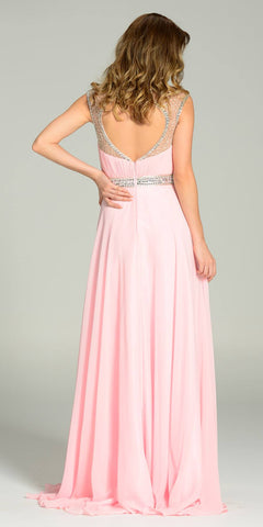 Poly USA 7182 Long Formal Chiffon Floor Length Gown Pink Gold Cap Sleeves Back View
