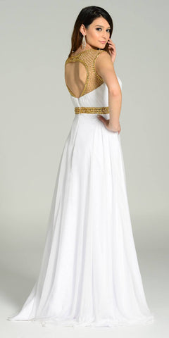 Poly USA 7182 Long Formal Chiffon Floor Length Gown White Gold Cap Sleeves Back View