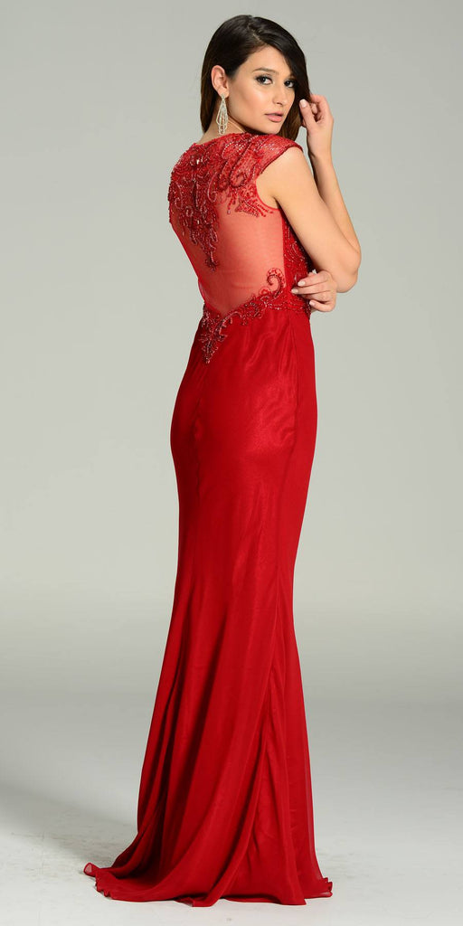 Floor Length Formal Gown Burgundy Deep V Neck Cap Sleeve Back View