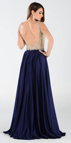 Poly USA 7188 - A Line Mesh/Satin Prom Dress Navy Blue Sleeveless Back View