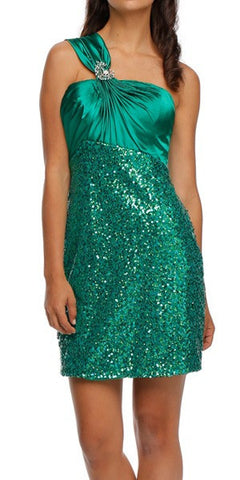 Short Sequin Cocktail Dress Green One Shoulder Satin Top Save